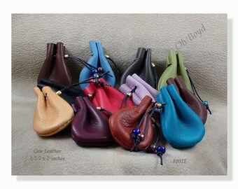 "Twelve Mini Leather Pouches - Size: 1-1/2"" x 2"", for small items like gemstones, coins, crystals, wee gifts. Strong little drawstring bags."