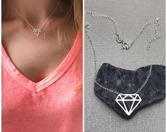 Sterling Silver Diamond shape necklace/ Diamond pendant/ sterling silver jewelry/rhombus necklace/geometric jewelry/everyday trendy necklace