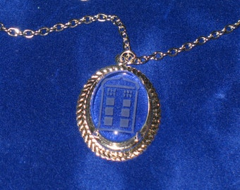 Doctor WhoPolice Box  Etched Glass Tardis Prong Set Cabochon Pendant Necklace 24 inch