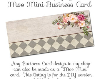Moo Mini Business Card Template - Shades of Grey - Made to Match Etsy Sets and Facebook Timeline Covers Available too, DIY Business Card