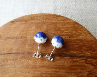 Gold Dot Snowball Stud Earrings