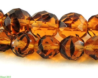 Translucent Faceted Beads Amber Color Africa 93897