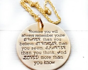 Promise you will Always Remember Graduation Necklace - Graduation - Braver than you think Necklace - New Beginnings