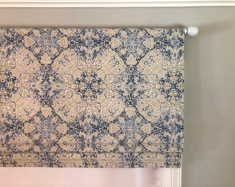 Faux (fake) Flat Roman Shade Valance.  Magnolia Home Fashions Galileo Mist.  Beige and Blues. Other colors available.