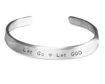 Let go and Let GOD bracelet, Inspirational bracelet, motivational bracelet, gifts, silver bracelet, religious jewelry, aluminum bracelet