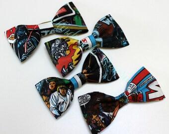 Star Wars Print Mini Fabric Hair Bow Clips