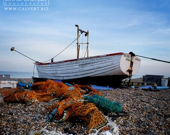 Silver Spray Fishing Boat on Aldeburgh Beach. Fine art Giclee Print