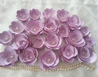 100 PURPLE  PAPER  FLOWERS With Pearl Centre