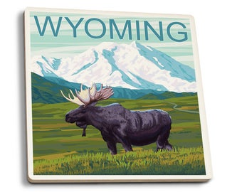 WY - Moose & Snowy Mountain - LP Artwork (Set of 4 Ceramic Coasters)