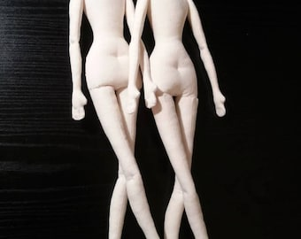 """SET of TWO Blank Doll BODIES 17"""" for crafting -  handmade doll- PreSewn and Stuffed Blank Doll Body - premade doll- cloth doll body"""