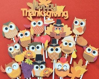 Thanksgiving cupcake toppers, 16 Thanksgiving owl toppers, Thanksgiving toppers, Thanksgiving party decor, Thanksgiving cake topper