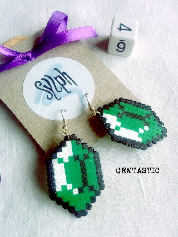 Green and white 8bit Zelda game inspired Gemtastic crystal earrings for geeky gamer girls made of Hama Mini Perler Beads