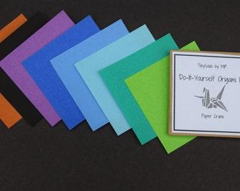 Do-It-Yourself Origami Kit - Paper Crane in Half Dark Rainbow