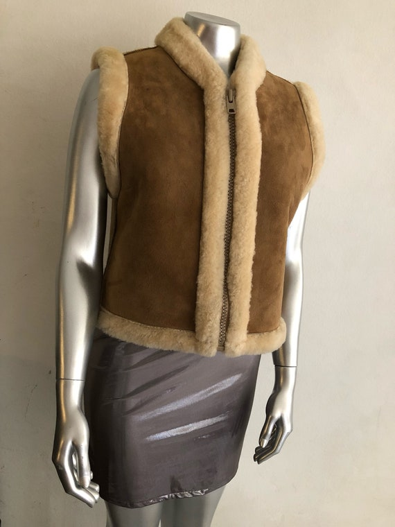 sheepskin vest of women winter Two size sided warm fashionable and suede women's vest small IxnXntq