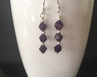 Long Purple Amethyst Earrings, Sterling Silver Gemstone Earrings, Amethyst Stone Jewellery, February Birthstone Jewelry Gift