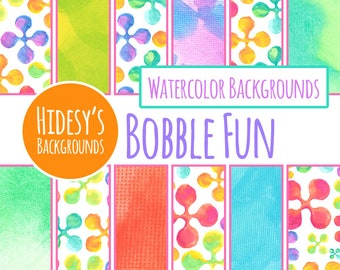 "Rainbow Watercolor Digital Paper Set ""Bobble Fun"" / Water Color Digital Backgrounds / Backdrops (Commercial Use)"