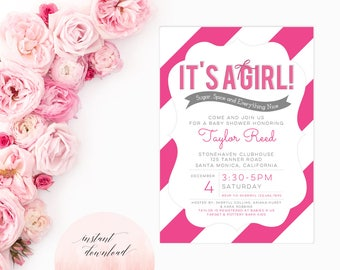 Printable Instant Download Baby Shower Invitation | Girl Baby Shower Invitation | Baby Shower Invite | Pink Baby Shower Invitation