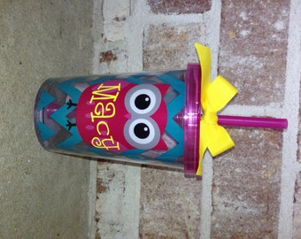 Personalized 10oz Double Wall Kids Tumbler {Owl}