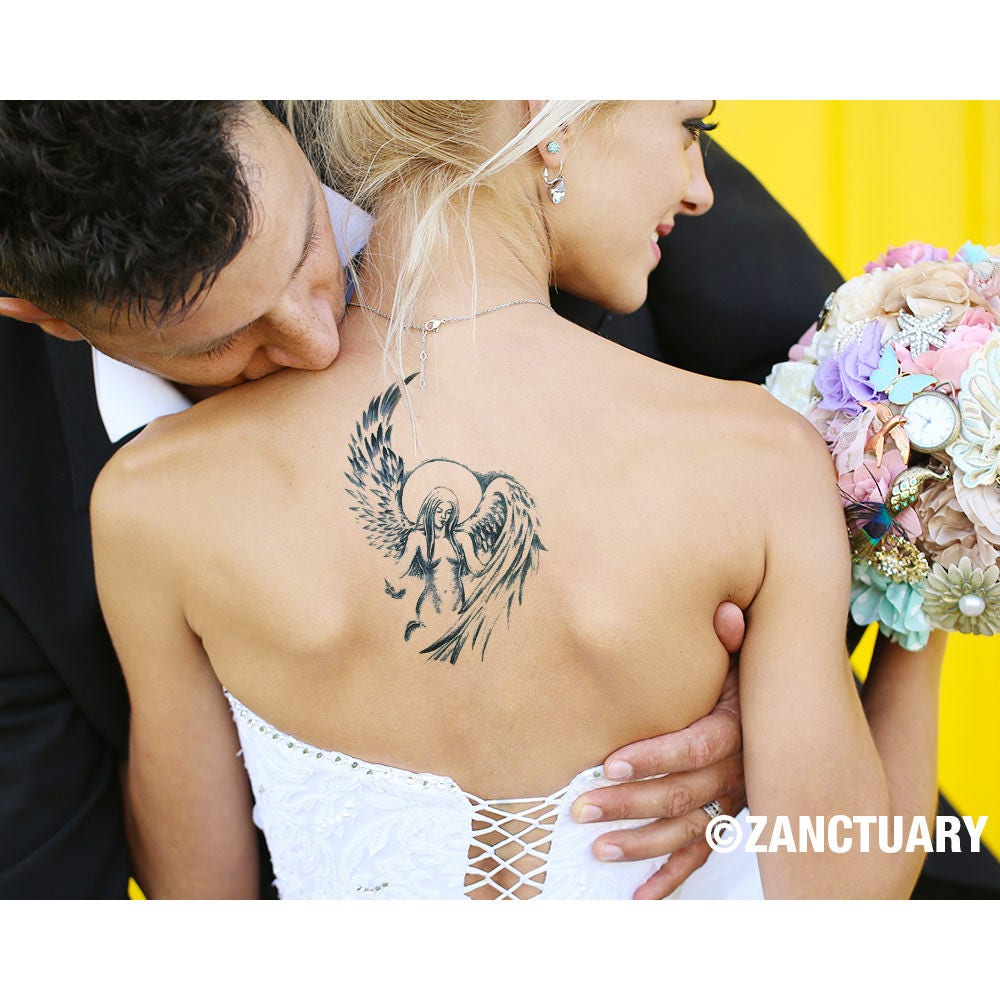angel tijdelijke tattoo engel tattoo engel vleugel tattoo maan. Black Bedroom Furniture Sets. Home Design Ideas