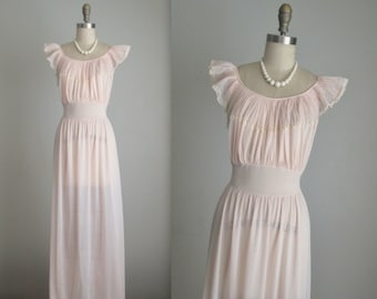 50's Blush Slip // Vintage 1950's Sheer Pleated Nylon Lace Blush Chiffon Goddess Slip Gown M