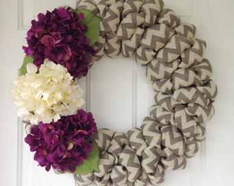 Modern Gray chevron burlap wreath with purple and cream hydrangeas. Custom burlap wreath with hydrangeas