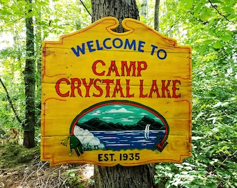 Handcrafted Camp Crystal Lake Reclaimed Wood Sign, Friday The 13th Decor, Man Cave Decor, Horror Decor Wood Sign