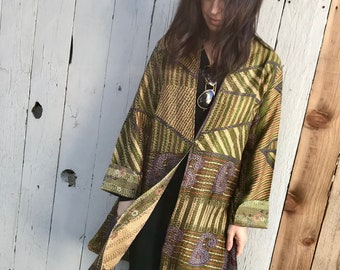 Mid century printed designer silk reversible long jacket