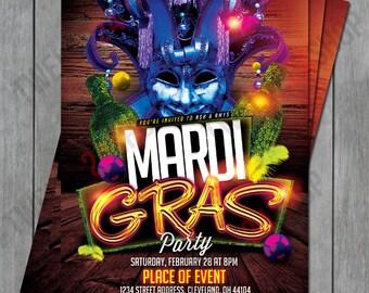 Mardi Gras Invitation, Mardi Gras Party, Masquerade Invitation, Mardi Gras Birthday, Mardi Gras Flyer