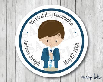 Personalized Communion Boy Stickers, First Communion Tag, Communion Thank You Labels, First Holy Communion Stickers
