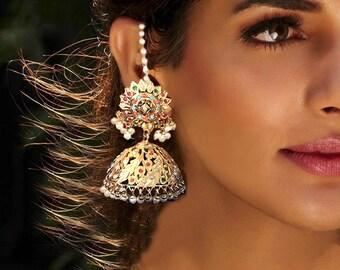 navrattan Gold Jhumka Earrings,Large Bollywood Jhumkas,kundan jhumki,Indian Ethnic Earrings,Tribal,Afghan earrings,Kucchi by Taneesi Jewelry