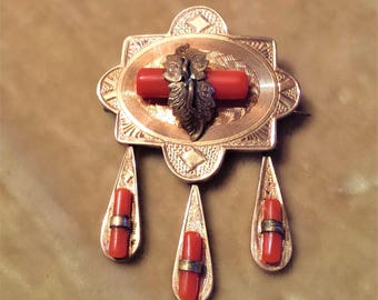 Gold Filled Coral Brooch with Drops