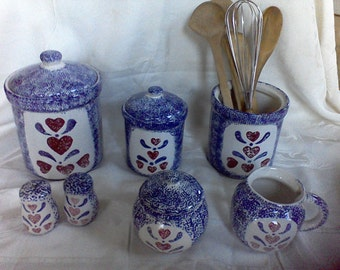 Vintage Canister Set,  Made in the USA, salt and pepper, cream and sugar, vintage kitchen, utility caddy