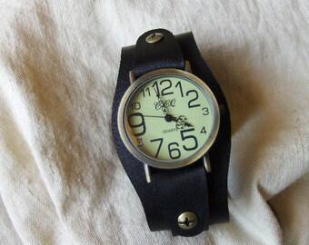 Black leather watch strap