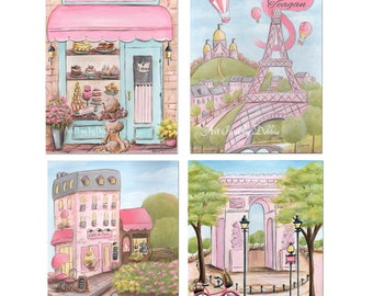 Best Gifts For Girls, Personalized Gift Ideas For Little Girl, Pink Girls Prints, Little Girl Paris Decor, Set Of 4 Prints, Great Girl Gift