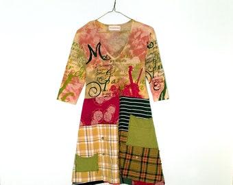 Patchwork tunic, Funky Clothes, Bohemian tunic dress, Minimalist dress, Tunic dress pockets, tshirt dress, V-Neck dress, Upcycled Clothing