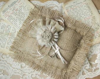 Burlap Wedding Ring Pillow,  Rustic Ring Bearer Pillow, Rustic Wedding Ceremony, Country Ring Pillow