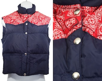 Vintage 70's COMFY Navy & Red Bandana Pattern Ski Down Vest Reversible Youth Size