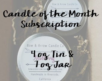 Candle of the Month   Soy Candle Subscription Box   4 oz Candle   7 oz Candle   Gift Idea   Soy Candles