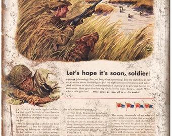 "Remington Rifle Dupont Soldier Return Home Vintage Ad 10"" x 7"" Metal Sign"