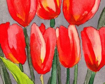 Orange Tulips Watercolor Painting, Wall Art, PRINTABLE ART