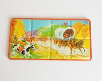 Boîte de Vintage Western étain métal peinture