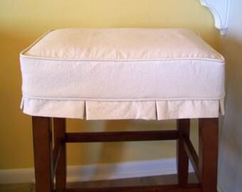 Rectangle Bar Stool Slipcover with Box Pleats, Canvas Barstool Slipcover