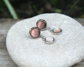 Mars and Moons Earrings, Phobos earrings, Deimos earrings, Mars Phobos and Deimos, solar system earrings, Mars earrings, Planet earrings