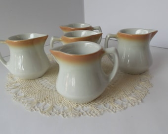 Vintage Shenango IRONSTONE CREAMER Set, Restaurant Style Creamer, Vintage Syrup Pitcher, Mini Small Creamer Pitcher, Farmhouse Kitchen Decor