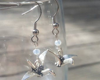 Paper crane dangle earrings with crystals