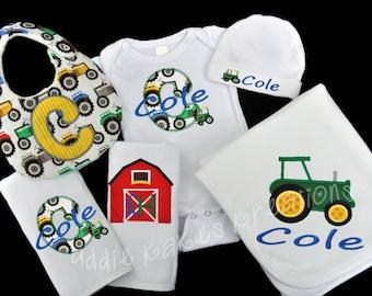 Personalized Farm Tractor Baby Gift Set / Bodysuit, Cap, Blanket, 2 Burpcloths and Bib