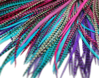 20 Real Feather Hair Extensions : B-Grade Petunia Mix + Rings/Loop