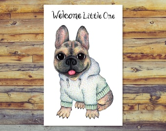 French Bulldog Printable Baby Shower Card, Digital Download, New Baby Card, Welcome New Baby, Baby Boy, Baby Girl, Printable Greeting Card