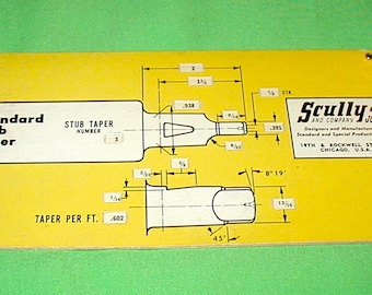 Scully-Jones selector # 1 standard stub taper slide guide vintage shop collectible rare find precision tools drill press milling machine