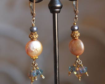 Peach pearl and crystal earrings w/14kt gold